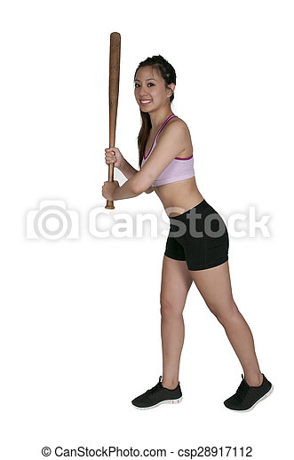 Woman Baseball Player - csp28917112