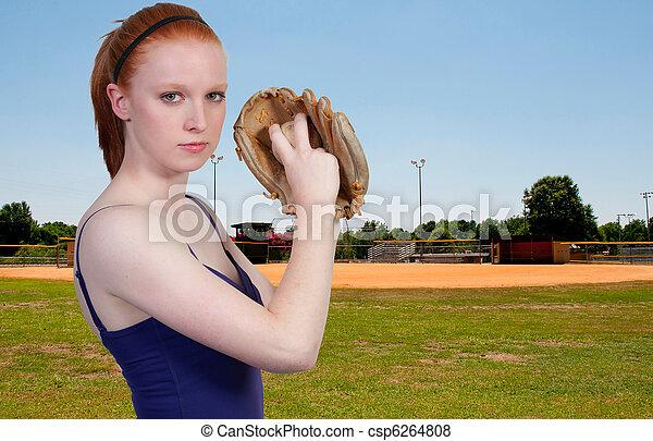 Woman Baseball Player - csp6264808
