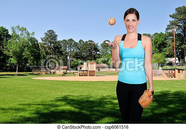 Woman Baseball Player - csp6061516