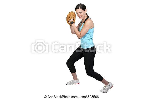 Woman Baseball Player - csp6608566