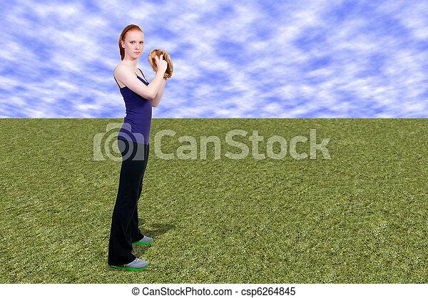 Woman Baseball Player - csp6264845