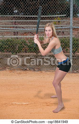 Woman Baseball Player - csp18641949