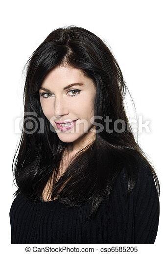 woman beautiful portrait studio smiling - csp6585205