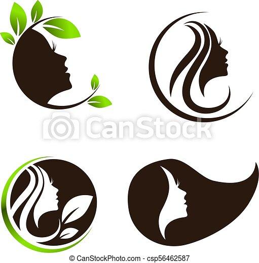 woman beauty hair spa salon logo design set woman beauty and spa
