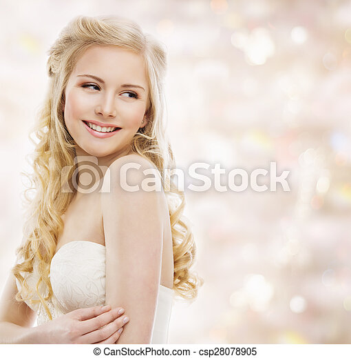 Woman Blond Long Hair, Fashion Model Portrait, Smiling Young Looking over Shoulder, Beauty Makeup - csp28078905