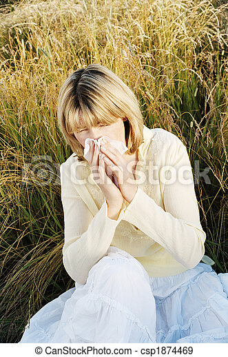 Woman Blowing Her Nose - csp1874469