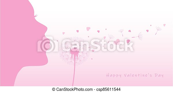 woman blows dandelion with heart silhouette - csp85611544