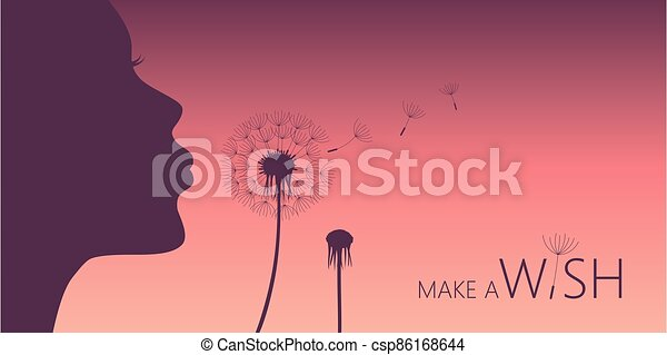 woman blows dandelion with heart silhouette - csp86168644