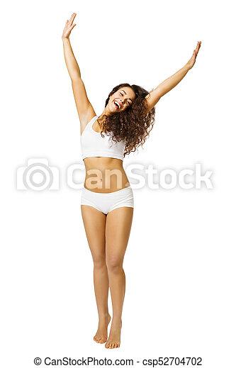 Woman Body Beauty Happy Model In White Underwear Arms Up