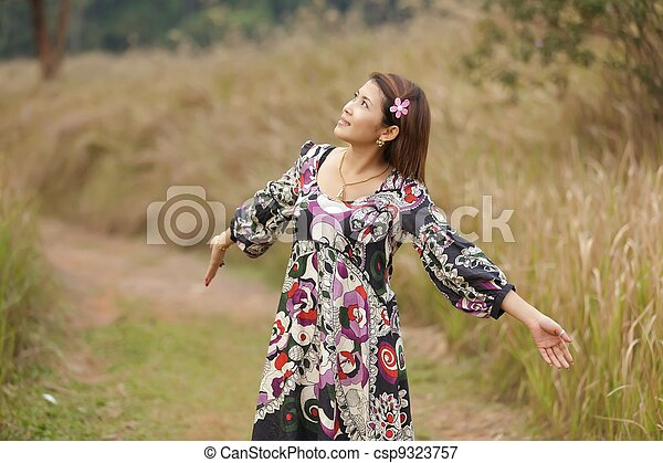 woman breathing in nature - csp9323757