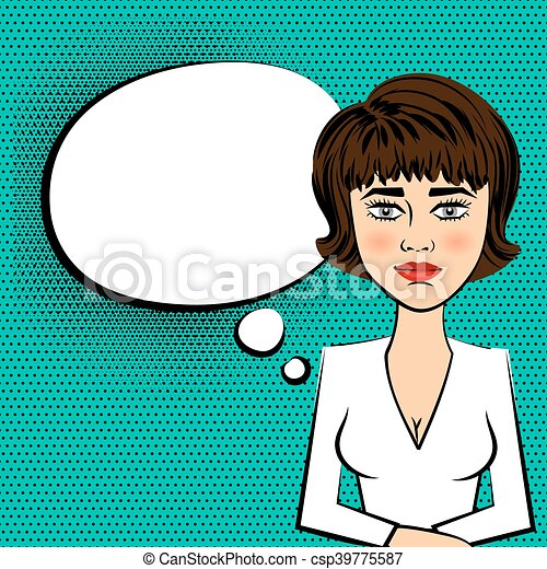 woman brunette tv presenter white dress pop art cute woman brunette rh canstockphoto com presenter clipart free circus presenter clipart