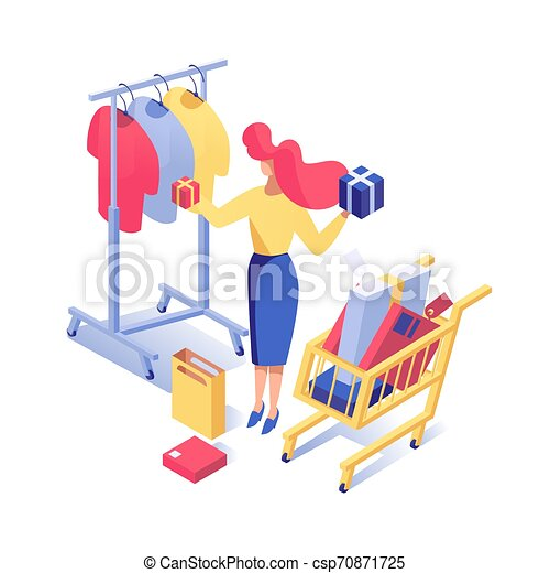 Woman buying clothes vector isometric illustration. Female buyer choosing presents, boxes with purchases in supermarket cart isolated clipart. Girl shopping in fashion boutique 3d character - csp70871725