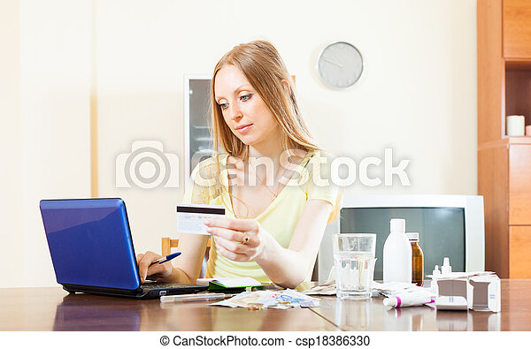 woman buying drugs online - csp18386330