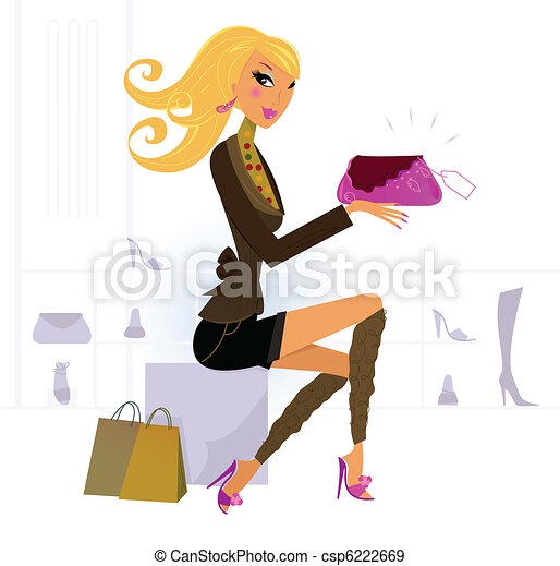 Woman buying fashion accesories in Shoe and Bags Store  - csp6222669