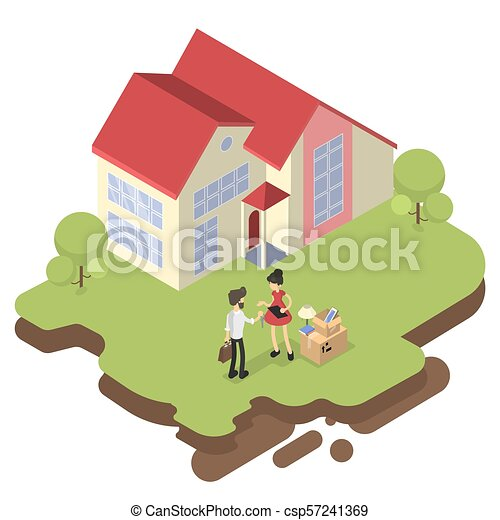 Woman Buying House Woman Buying House And Moving To A New Mansion