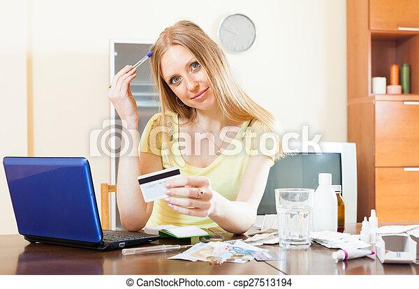 woman buying medication online - csp27513194