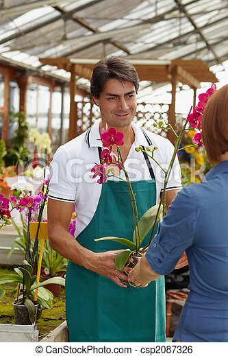 woman buying orchids - csp2087326