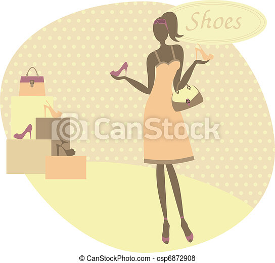 Woman Buying Shoes - csp6872908