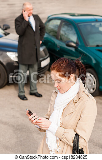 Woman calling insurance after car accident crash - csp18234825