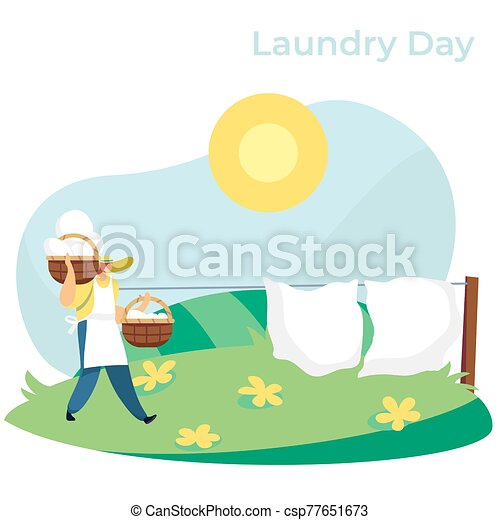 Woman carrying baskets with clean laundry to hang bed sheets outside, vector illustration - csp77651673