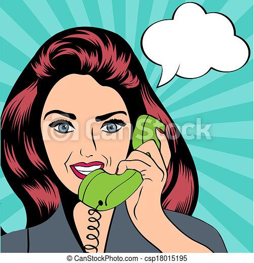 woman chatting on the phone, pop art illustration - csp18015195