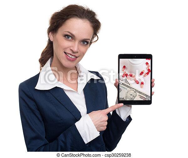 Woman chooses drugs online - csp30259238