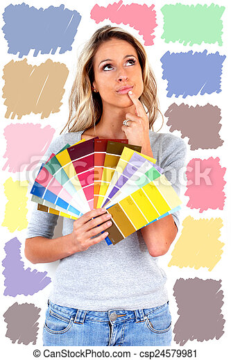 Woman choosing a color for painting. - csp24579981