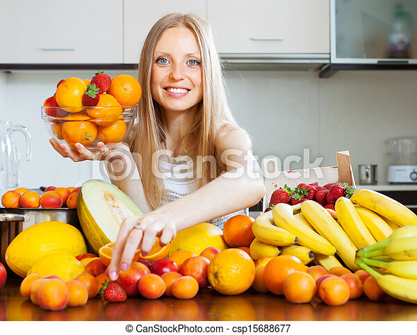 woman choosing fruits - csp15688677