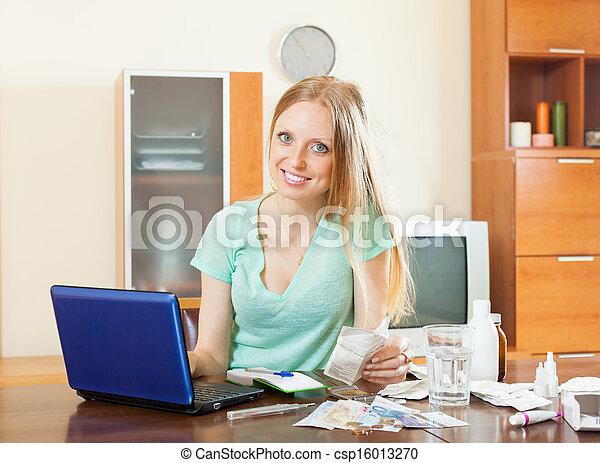 woman choosing medication online pharmacy - csp16013270