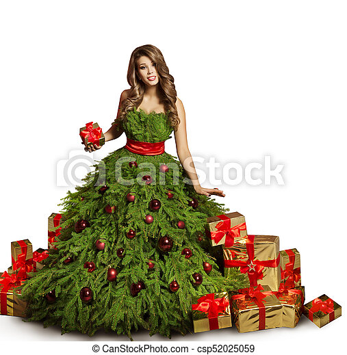Woman Christmas Tree Dress And Presents Gifts Fashion Model New Year Gown Isolated Over White Background Canstock
