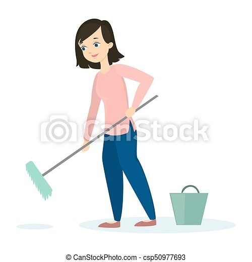 Woman cleaning floor. - csp50977693