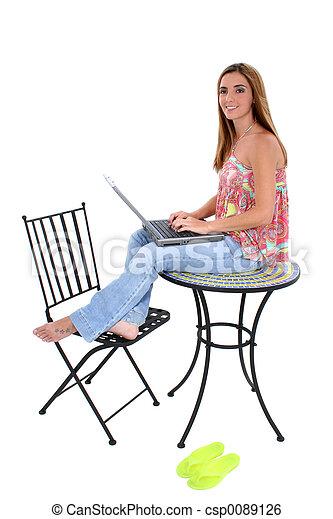 Woman Computer - csp0089126