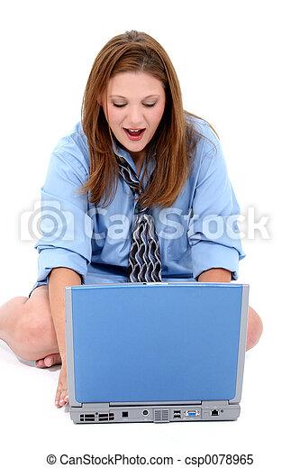 Woman Computer - csp0078965