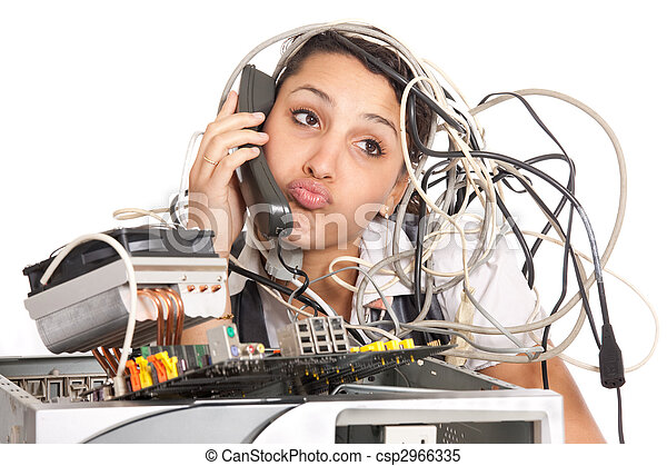woman computer support - csp2966335