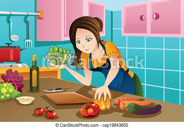 Woman cooking healthy food in the kitchen - csp19843655