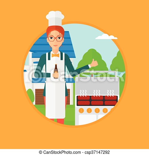 Woman cooking meat on grill. - csp37147292