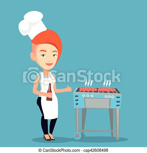 Woman cooking steak on barbecue grill. - csp42608498