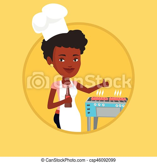 Woman cooking steak on barbecue grill. - csp46092099