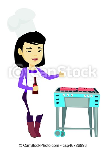Woman cooking steak on barbecue grill. - csp46726998