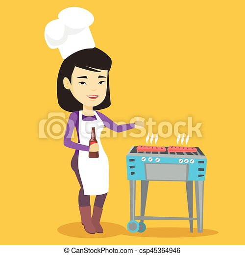 Woman cooking steak on barbecue grill. - csp45364946