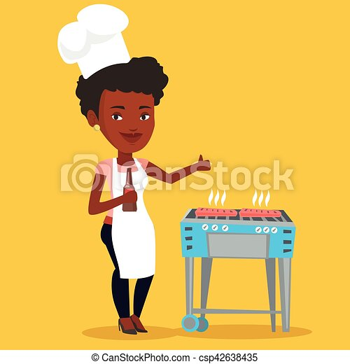Woman cooking steak on barbecue grill. - csp42638435