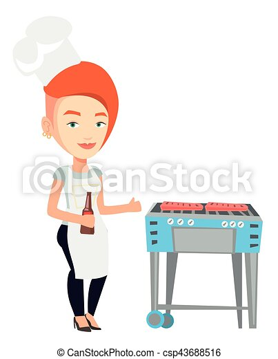 Woman cooking steak on barbecue grill. - csp43688516
