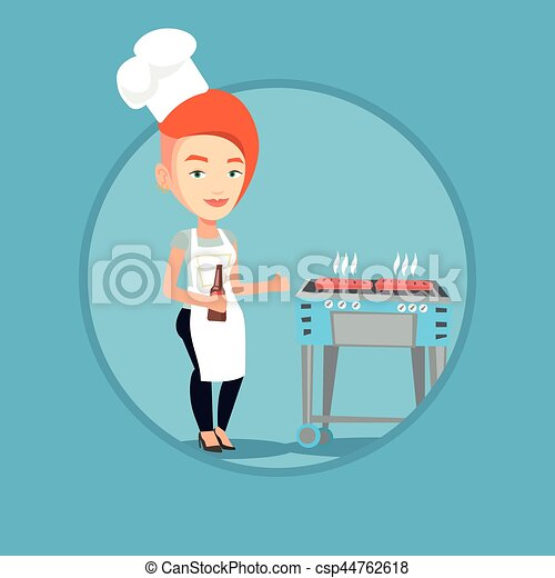 Woman cooking steak on barbecue grill. - csp44762618