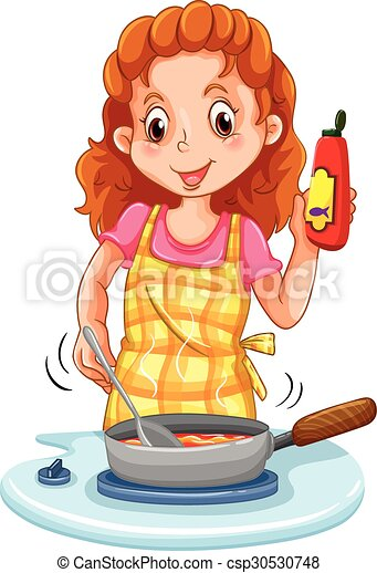 Woman cooking with a pan - csp30530748