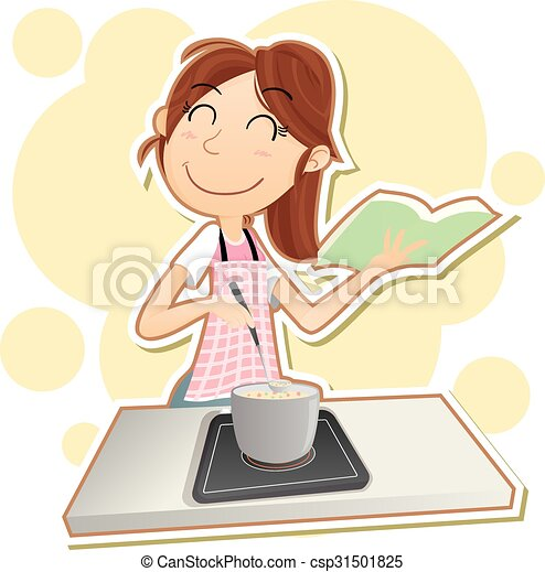 Woman Cooking Cartoon