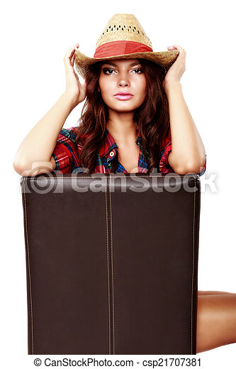 woman cowgirl sitting on a chair isolated on white - csp21707381
