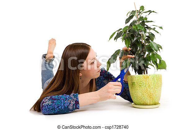 Woman cuttion plant with blue scissors - csp1728740