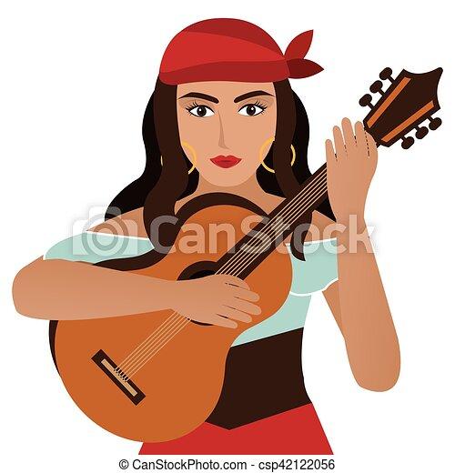 woman dancer flamenco character - csp42122056