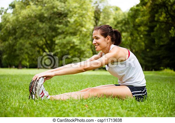 woman, dehnt, -, außensport, übung - csp11713638