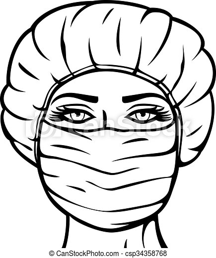 woman doctor in surgical mask - csp34358768